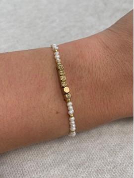 """Bracelet Acier - Perles """"chance"""" et pierres naturelles sur cordon"""