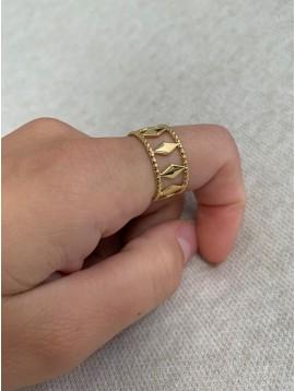 Bague Acier réglable - Rang losanges et anneaux perlés